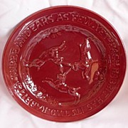 Early Rare Sarreguemines France Majolica Oxblood Rabbits & Rhyme Plate 1880-1890