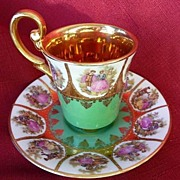 Bayreuth~Seltmann Bavaria Demitasse Footed Ornate Cup & Saucer 1900