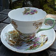 Shelley Potteries Staffordshire England Vintage 1925~1940 Heather Cup & Saucer # 13419