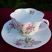 Shelley Potteries Staffordshire England Vintage Dainty Stocks Cup & Saucer #13428