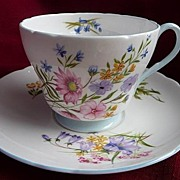 Shelley Fine Bone China Staffordshire, England Vintage Wildflowers Richmond Shape Cup & Saucer