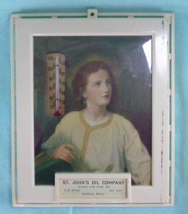 St. John's Oil Company Gardner Massachusetts 1930s~1940s  Religious Advertising Thermometer