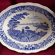 "Swinnertons Staffordshire England Blue Transferware Silverdale 10"" Serving Bowl"