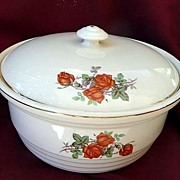 Universal Cambridge USA Vintage 1934~1956 Orange Roses Retro Bowl & Lid~Casserole 8 1/2""