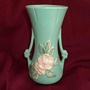 Weller Art Pottery Matte Green 2 Handled Vase Wild Rose 7""