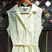 SALE Shirtwaist Classic Vintage 1950s~1960s Sleeveless Yellow Cotton Dress Small
