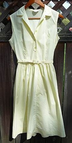 Shirtwaist Classic Vintage 1950s~1960s Sleeveless Yellow Cotton Dress Small