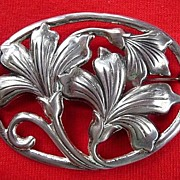 "Danecraft Sterling Vintage Large 2"" Art Nouveau Floral Brooch"