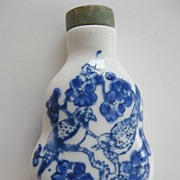 Hard paste- blue accented- Chinese snuff Bottle