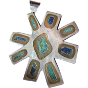 "Heavy onyx and sterling with turquoise & Lapis- Taxco pendant from ""Los Castillo's"""
