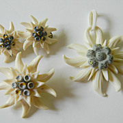 Delicate -hand carved set-Pin-earrings -Pendant