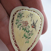 Etched and painted- Ivory pin