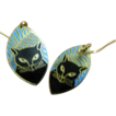 Pierced earrings- Black cat motif