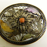 Vintage-marked sterling and semi precious stones-Pin