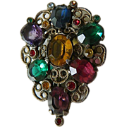 Jeweled- vintage Dress-fur clip