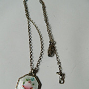 Delicate silver chain and Pendant- enameled
