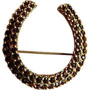 Beautiful Czech garnet- Horse shoe -Pin