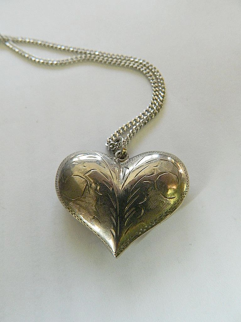 Etched - Silver puffy heart pendant with sterling chain