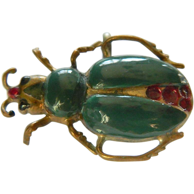 Vintage enameled bug- watch Pin