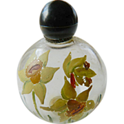 Hand painted floral- 1920's &quot;French&quot; perfume bottle
