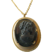 Vintage- Cameo pendant With brass linked chain