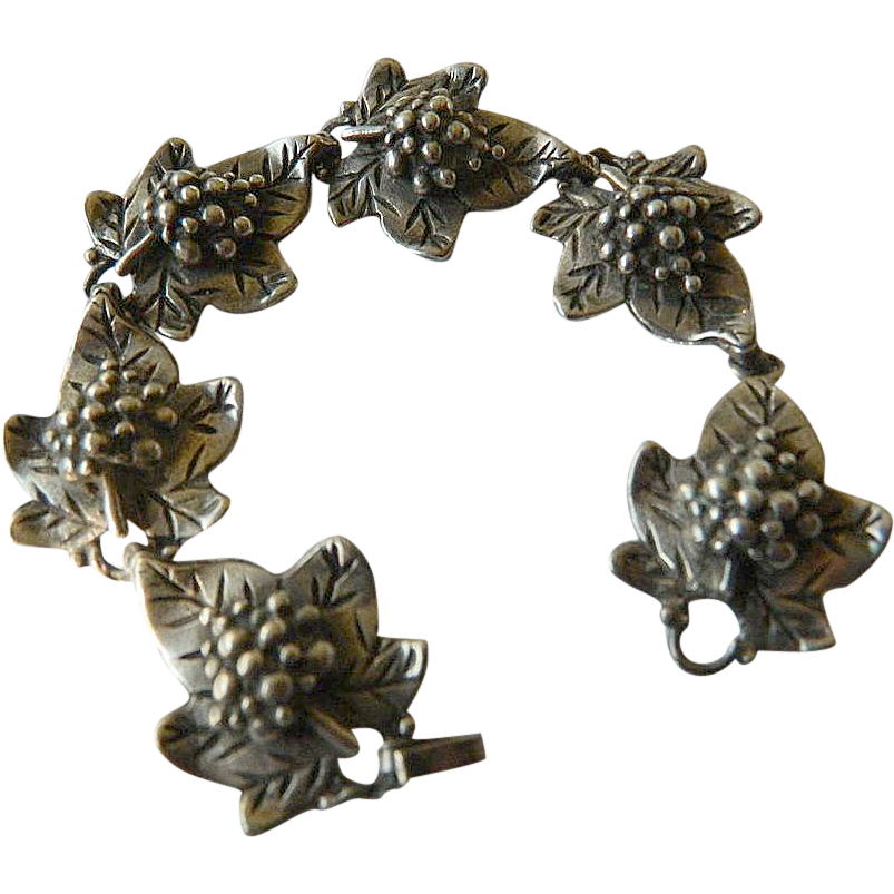 Sterling silver- Grape motif- Bracelet