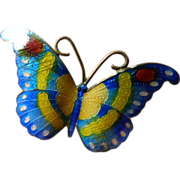 Enameled butterfly-Pin- Striking colors