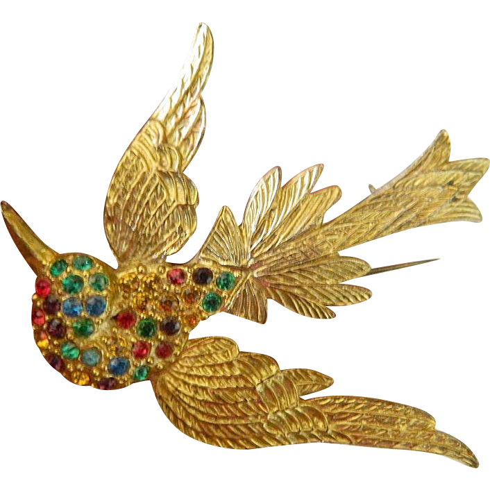 Soaring bird pin- Textured and Jeweled