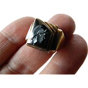 Vintage-marked 10k. gold-with Hematite warrior ring