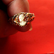 Stunning-tiny carved cameo- Gold plated -Ring