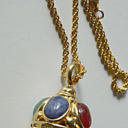 Egg shaped- Jeweled pendant with Chain