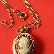 SALE Gold filled- Shell cameo Locket- with Chain