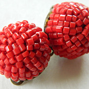 Red seed bead Clip earrings-1950's.