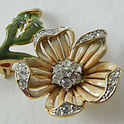 signed- Nolan Miller Floral pin- Enameled and Jeweled