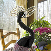 Huge-art glass-Exotic bird- Crane