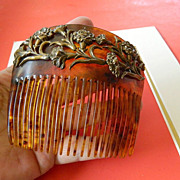 Elegant- large tortuous shell -Hair comb- late 1800's
