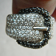 Belt buckle Ring- Sterling with stones