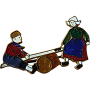 Vintage- Enameled Dutch children-pin
