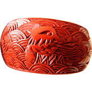 Wide- carved Cinnabar bangle Bracelet