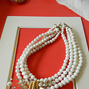 "Stunning signed ""Marvella"" white beads Necklace with medallion"