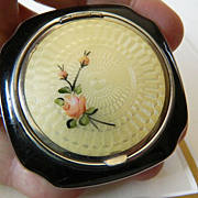 Beautiful Guilloche'- enameled compact- 1930's