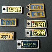 Tiny vintage- Key chain license plates- Various years