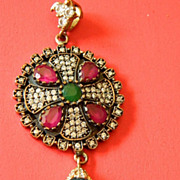 Outstanding- Turkish-Gem stone-brass and Silver pendant