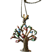 Brass open work- Evil eye Tree- pendant with chain