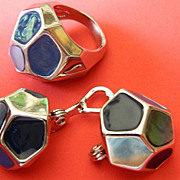 signed- Brooks Brothers- Modernist ring and Earrings