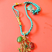 Fabulous -large pendant- with silk chain-semi precious stones