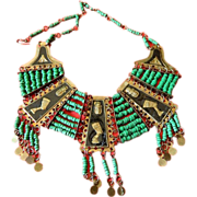 1930- Egyptian clay stones and Metal necklace
