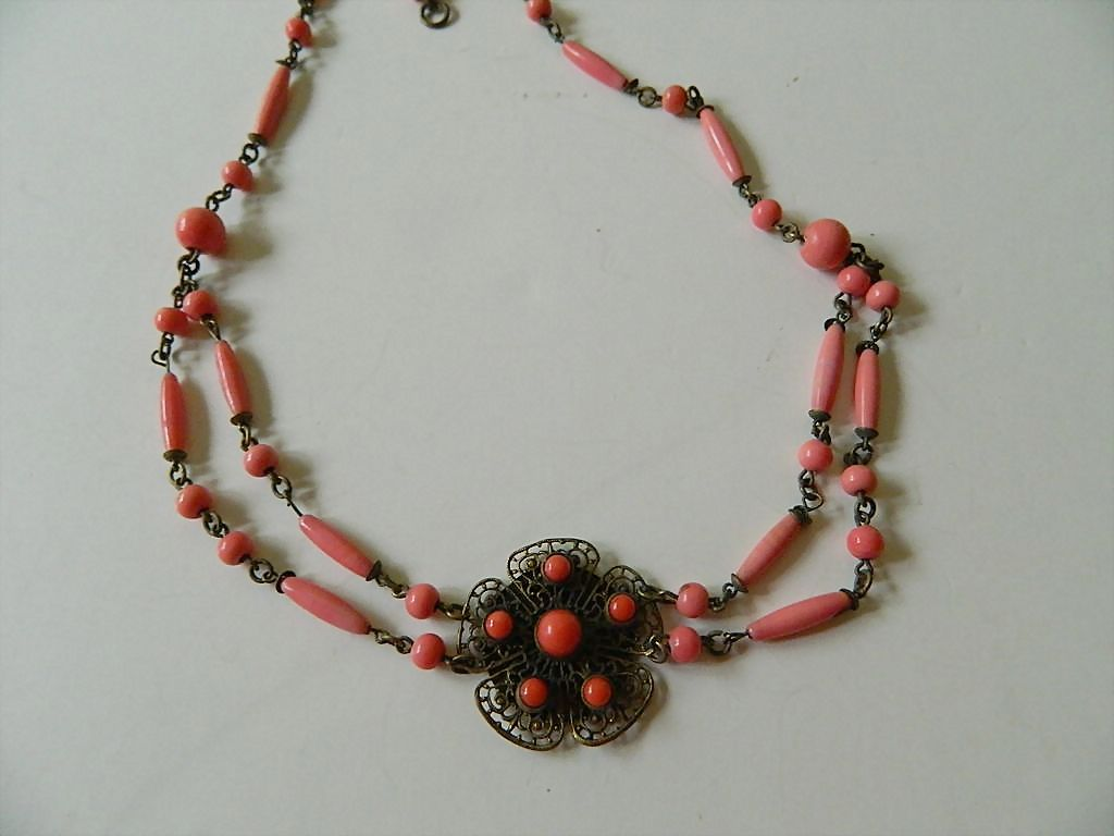 Gorgeous Czech -coral glass beads Choker necklace- Extra pieces