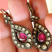 Brass and ruby -Hand made Earrings