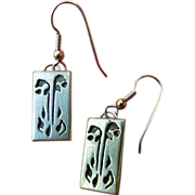 Etched design- silver Earrings- Designer signed